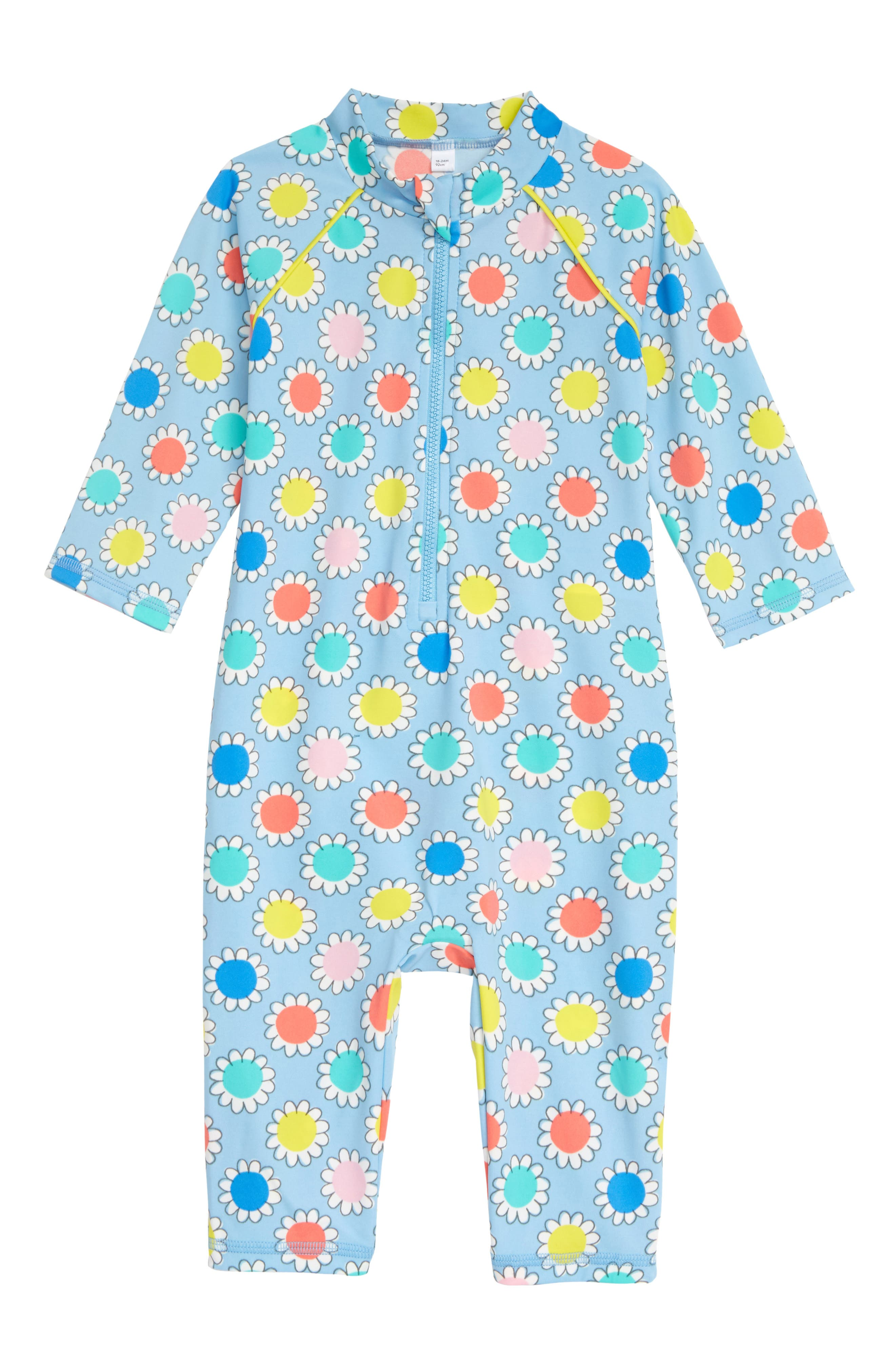 Bright, colorful daisies bloom all over a sky-blue rashguard crafted to provide lots of coverage and added protection against the sun. Style Name: Mini Boden Floral One-Piece Rashguard Swimsuit (Baby). Style Number: 6063913. Available in stores.