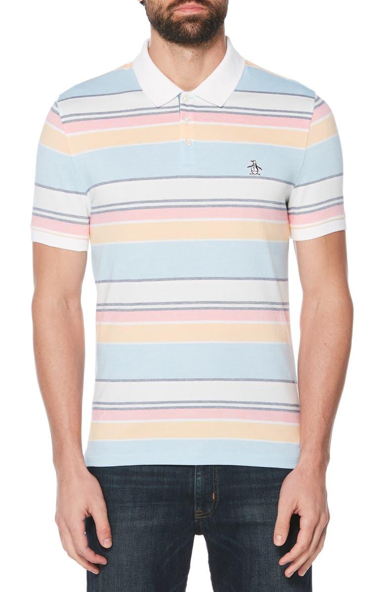 ORIGINAL PENGUIN Stripe Piqué Polo, Main, color, AIR BLUE