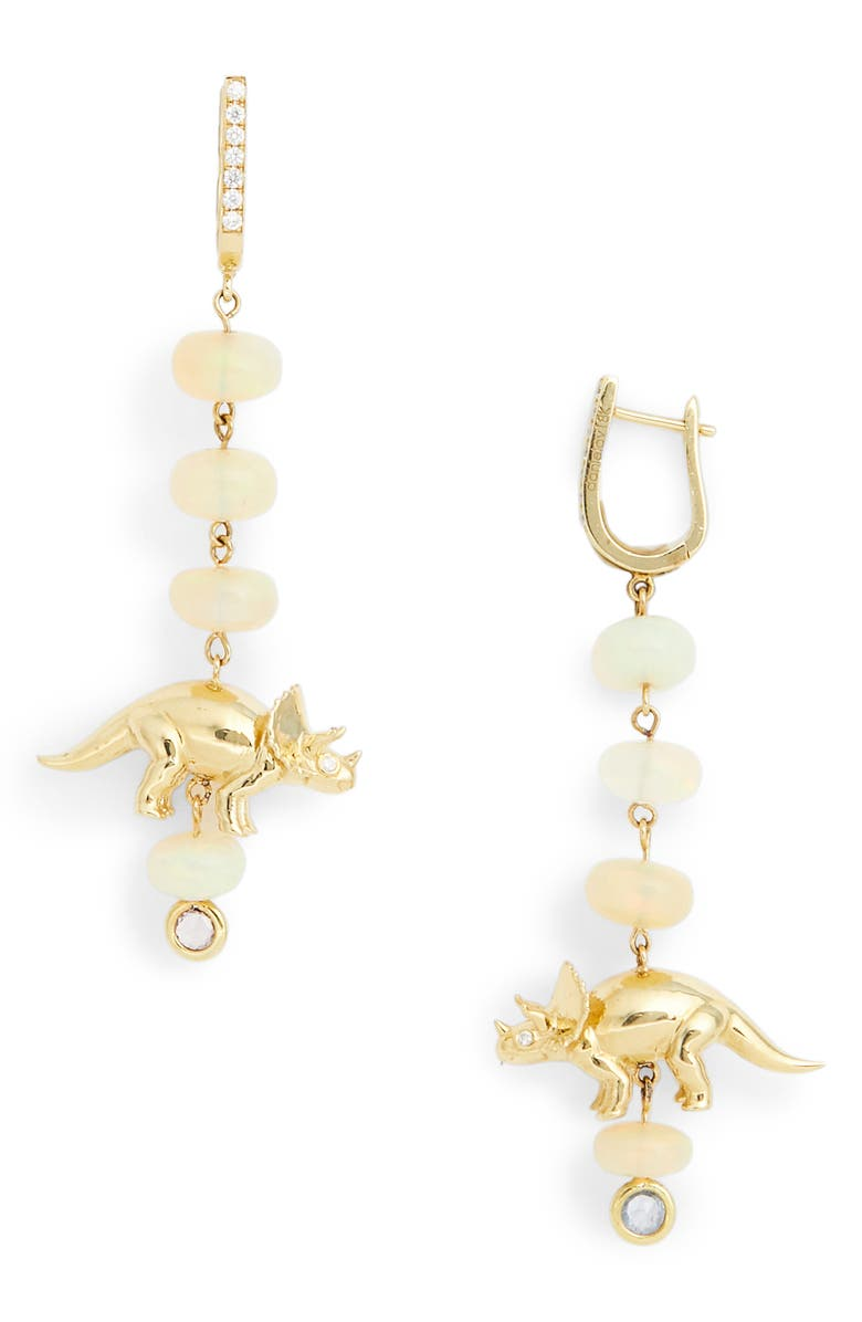 DANIELA VILLEGAS x Jurassic Park 25th Anniversary Sweet Triceratops Drop Earrings, Main, color, YELLOW GOLD
