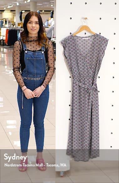 Mosaic Flutter Sleeve Faux Wrap Dress, sales video thumbnail