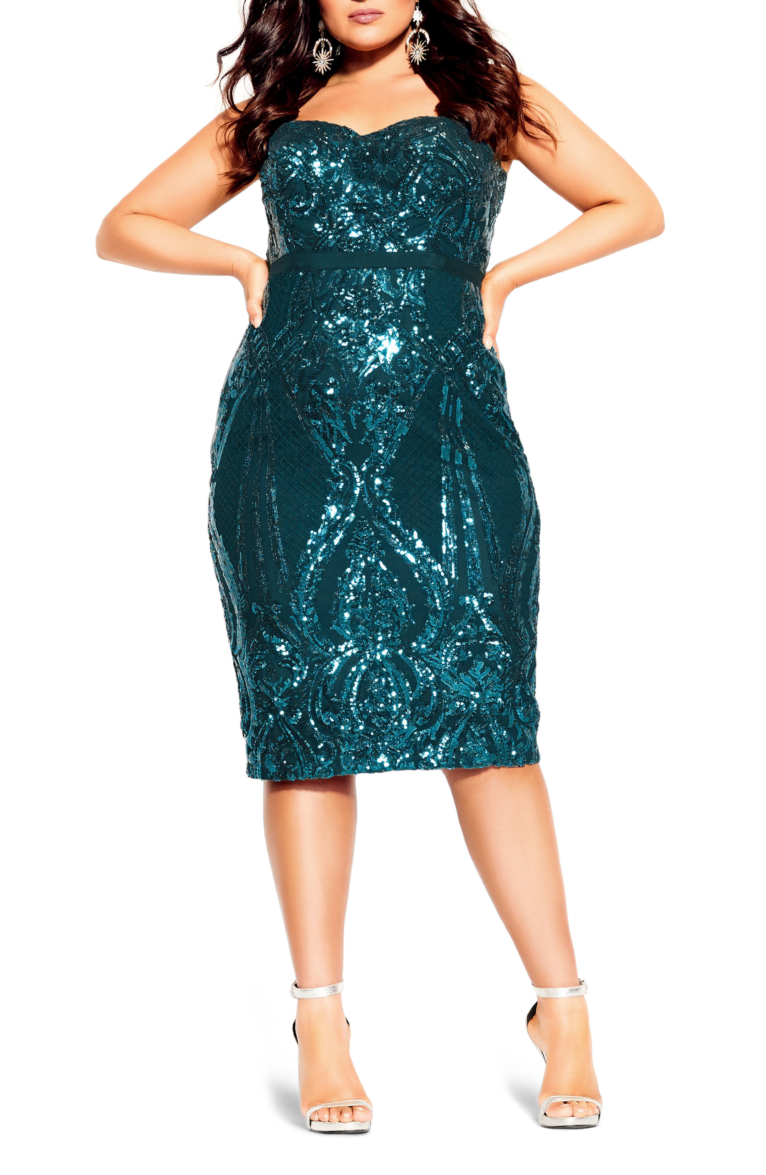 Image of City Chic Sofia Embellished Strapless Sheath Dress