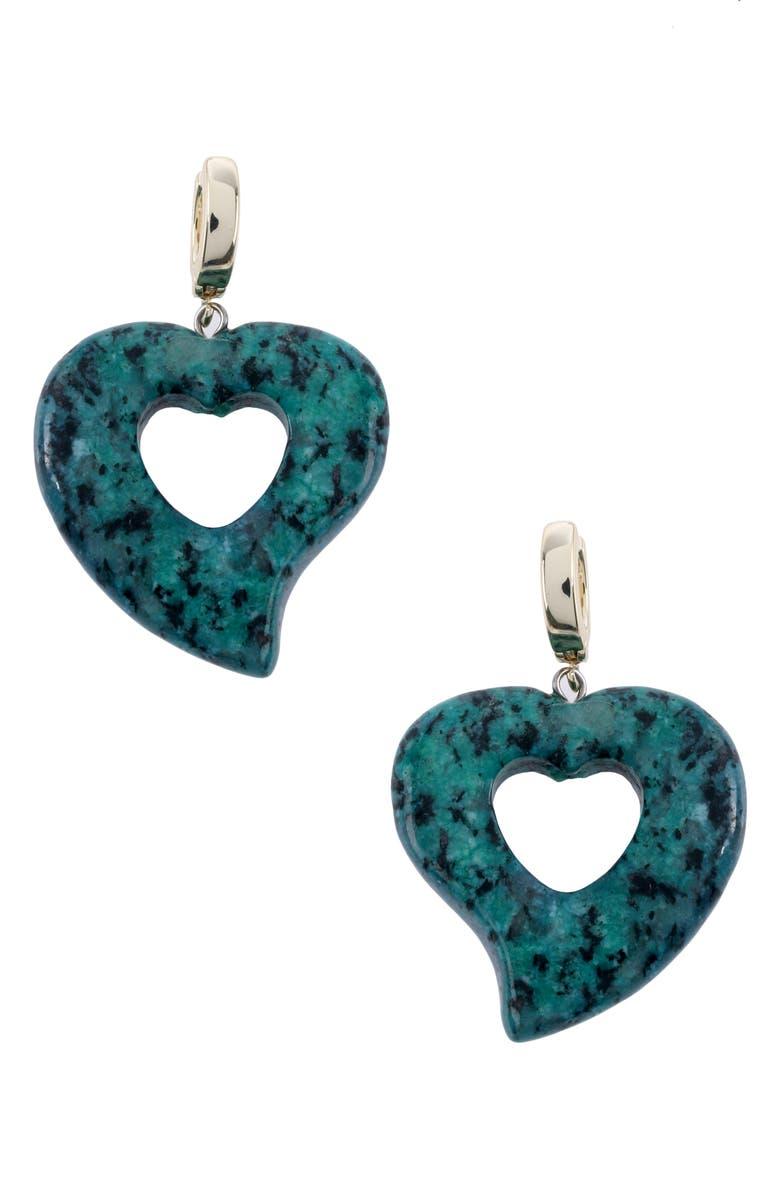 NAKAMOL CHICAGO Agate Heart Huggie Hoop Earrings, Main, color, GREEN