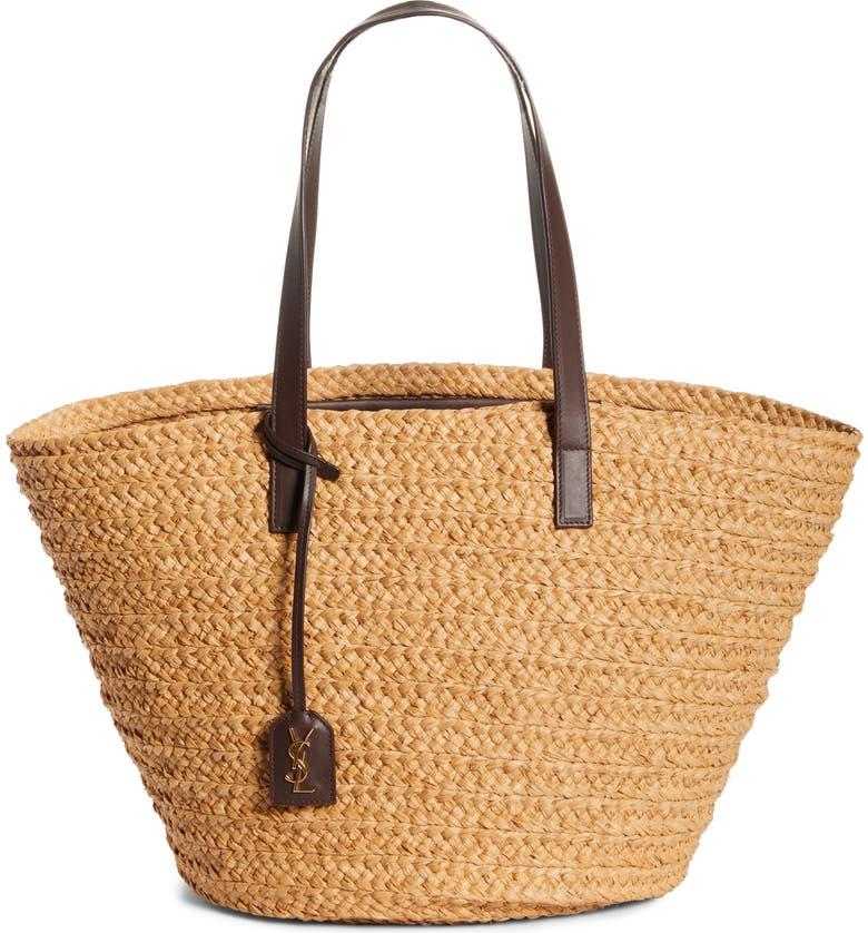 SAINT LAURENT Raffia Basket Tote, Main, color, NATURAL/ NUT