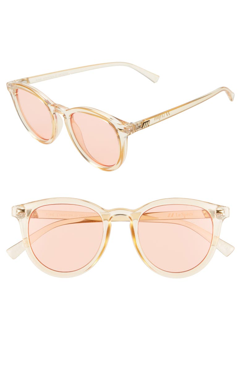 LE SPECS Fire Starter 49mm Round Sunglasses, Main, color, BLONDE/ CORAL