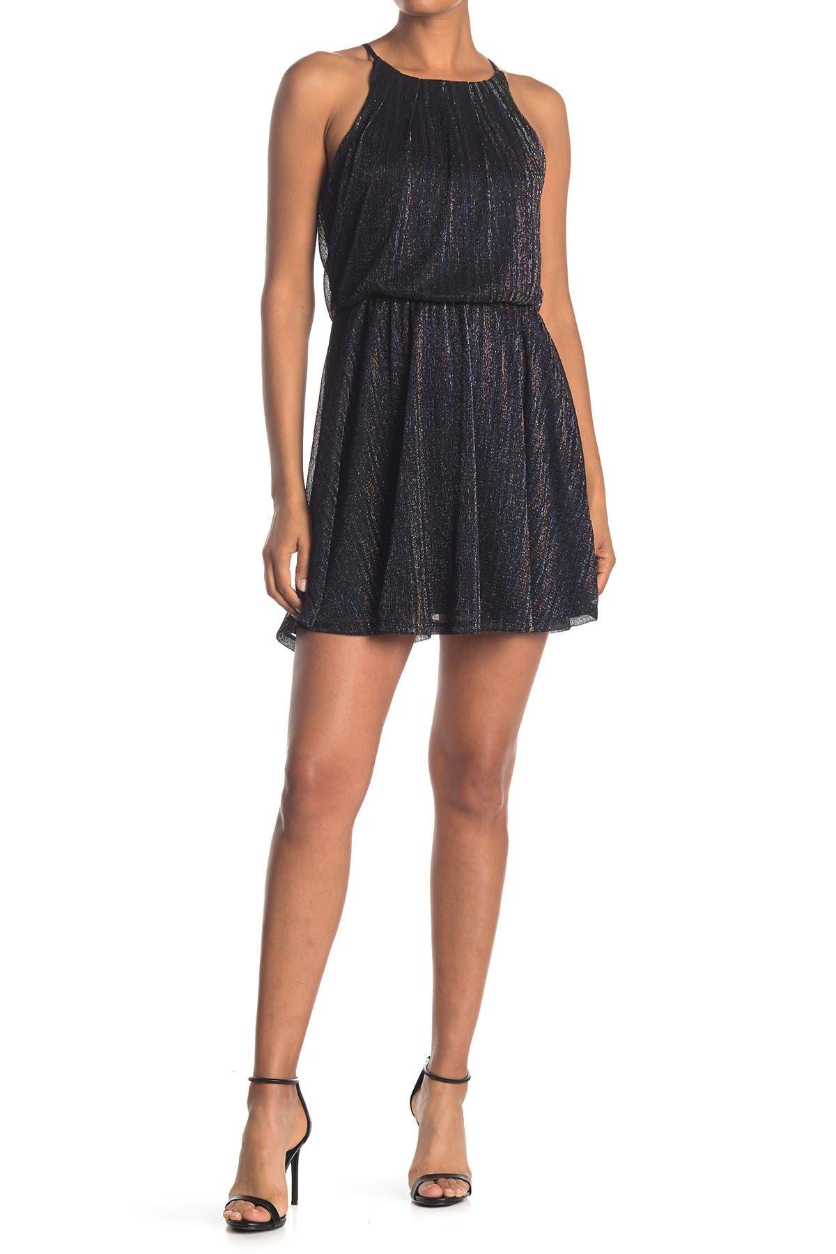 Image of ROW A Lurex Stripe High Neck Dress