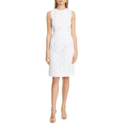 Carolina Herrera Guipure Lace Sheath Dress, White