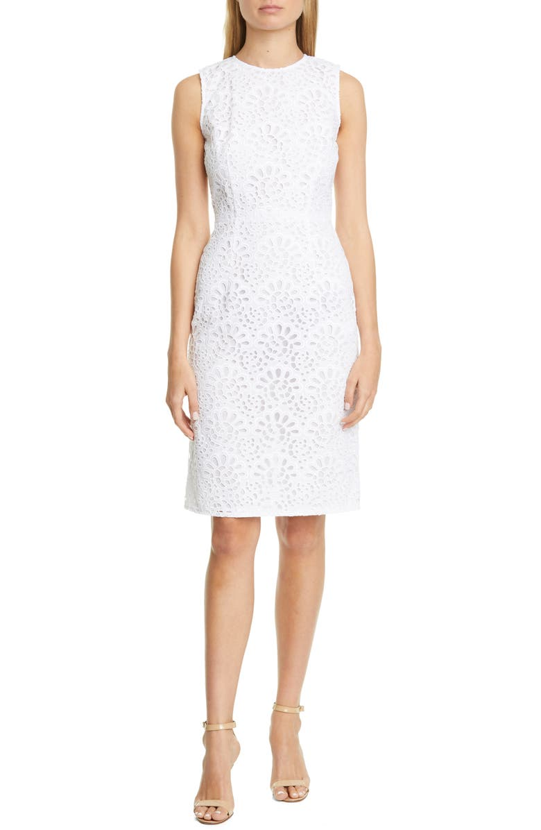 CAROLINA HERRERA Guipure Lace Sheath Dress, Main, color, WHITE