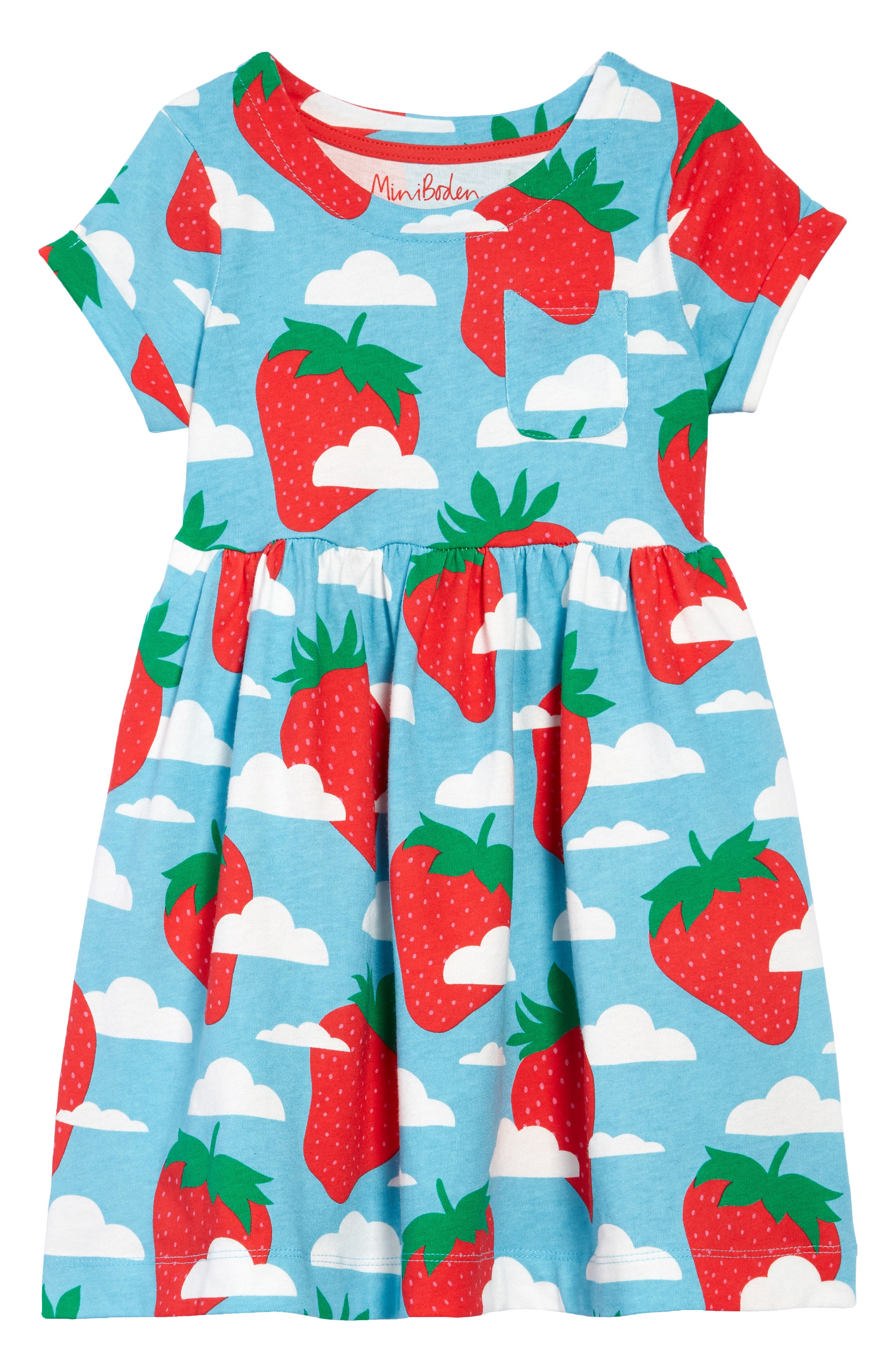 New Ex  Mini Boden girl's Strappy printed Smocked Top blue  Was £29 Now £9.99