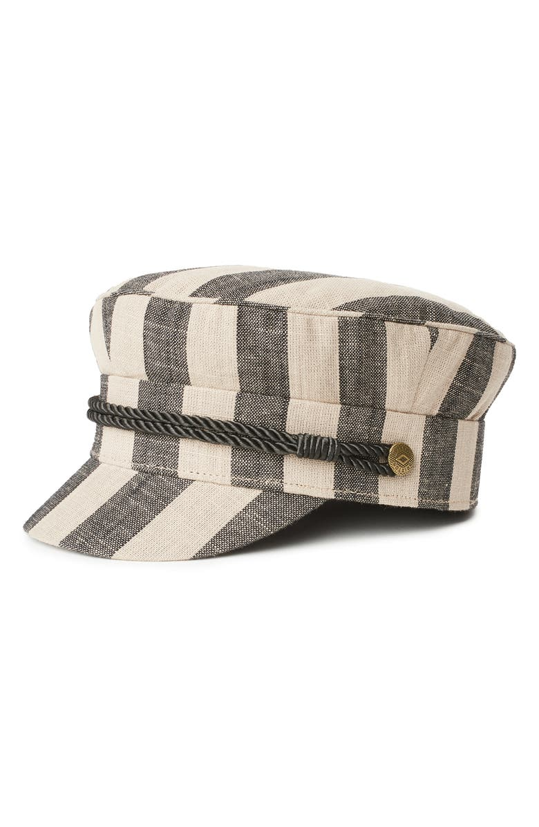 BRIXTON Albany Engineer Stripe Cap, Main, color, BLACK/ IVORY