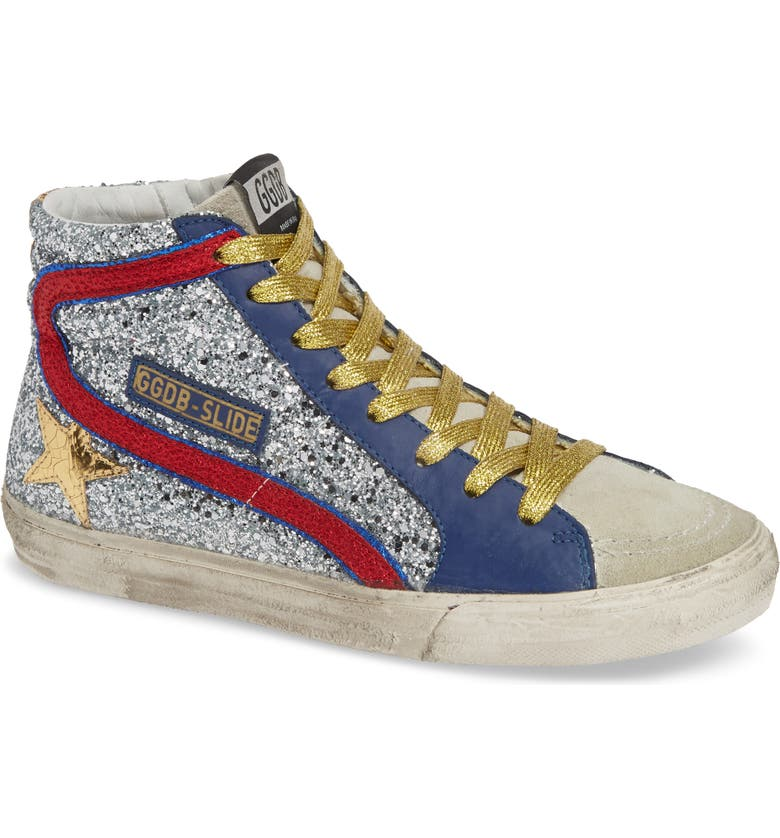 GOLDEN GOOSE Glitter High Top Sneaker, Main, color, SILVER/ RED/ GOLD