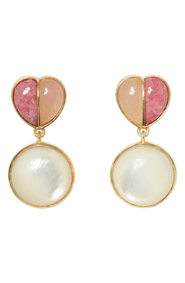 SOLE SOCIETY Split Stone Heart Drop Earrings, Main, color, GOLD/ PINK AVENTURINE/ SPURITE
