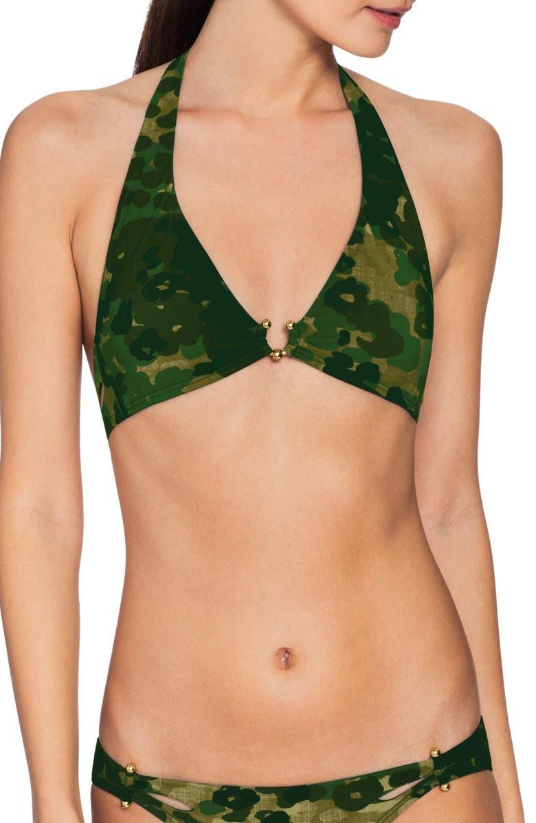 ROBIN PICCONE Eden Halter Camo Bikini Top, Main, color, GREEN MULTI