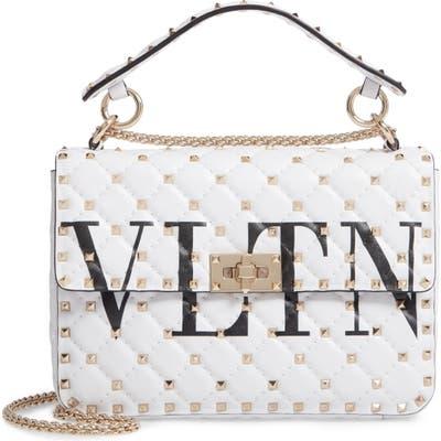Valentino Garavani Vltn Logo Candystud Lambskin Top Handle Satchel - White