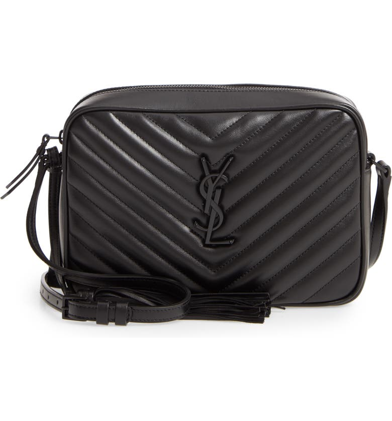SAINT LAURENT Lou Matelassé Calfskin Leather Camera Bag, Main, color, NOIR