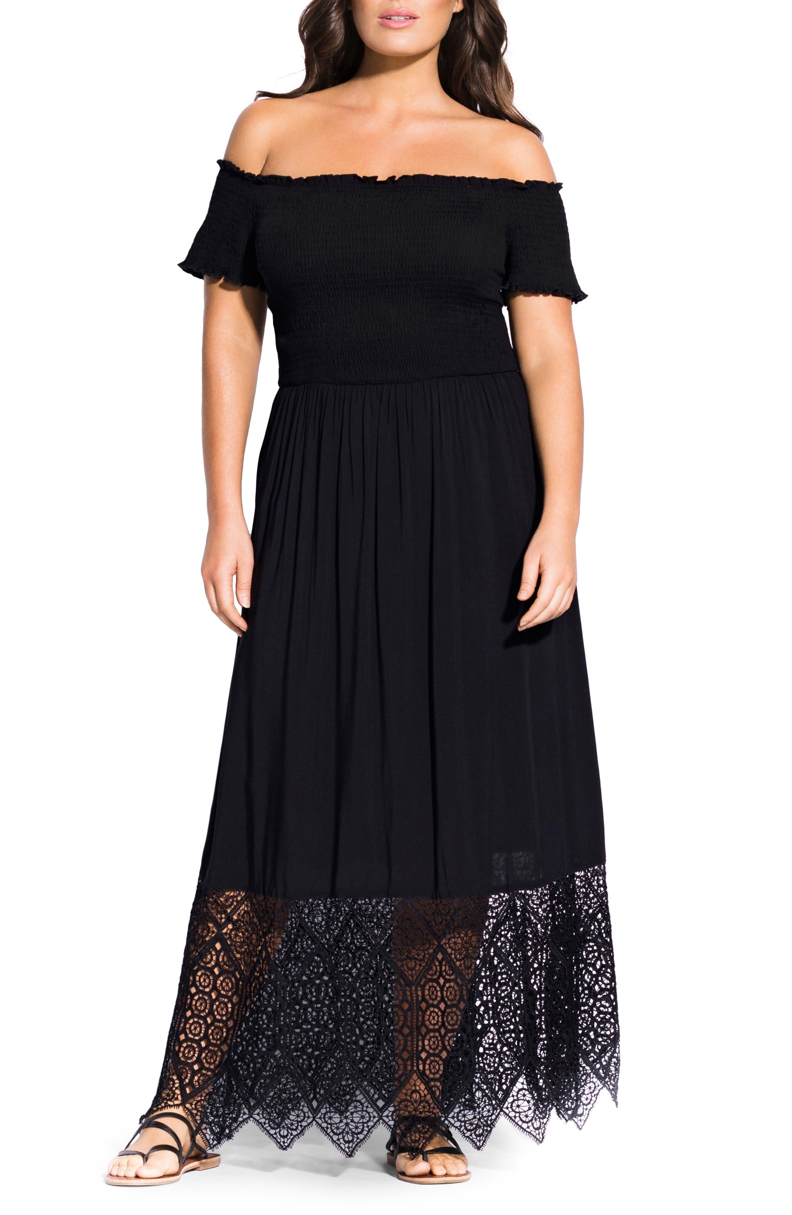 Plus Size City Chic Off The Shoulder Maxi Dress, Black