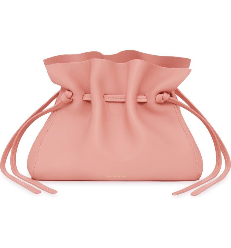 MANSUR GAVRIEL Mini Lambskin Leather Drawstring Bag, Main, color, CORAL/ CORAL