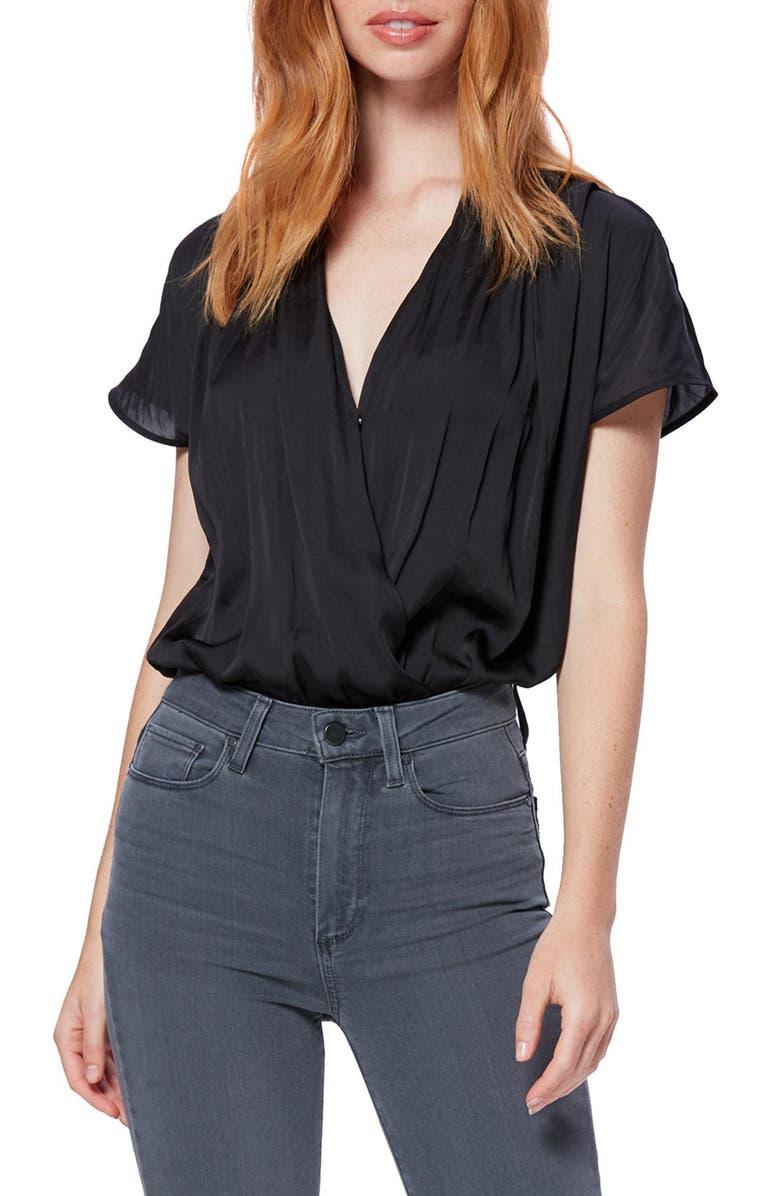 PAIGE Dijon Surplice Bodysuit, Main, color, BLACK