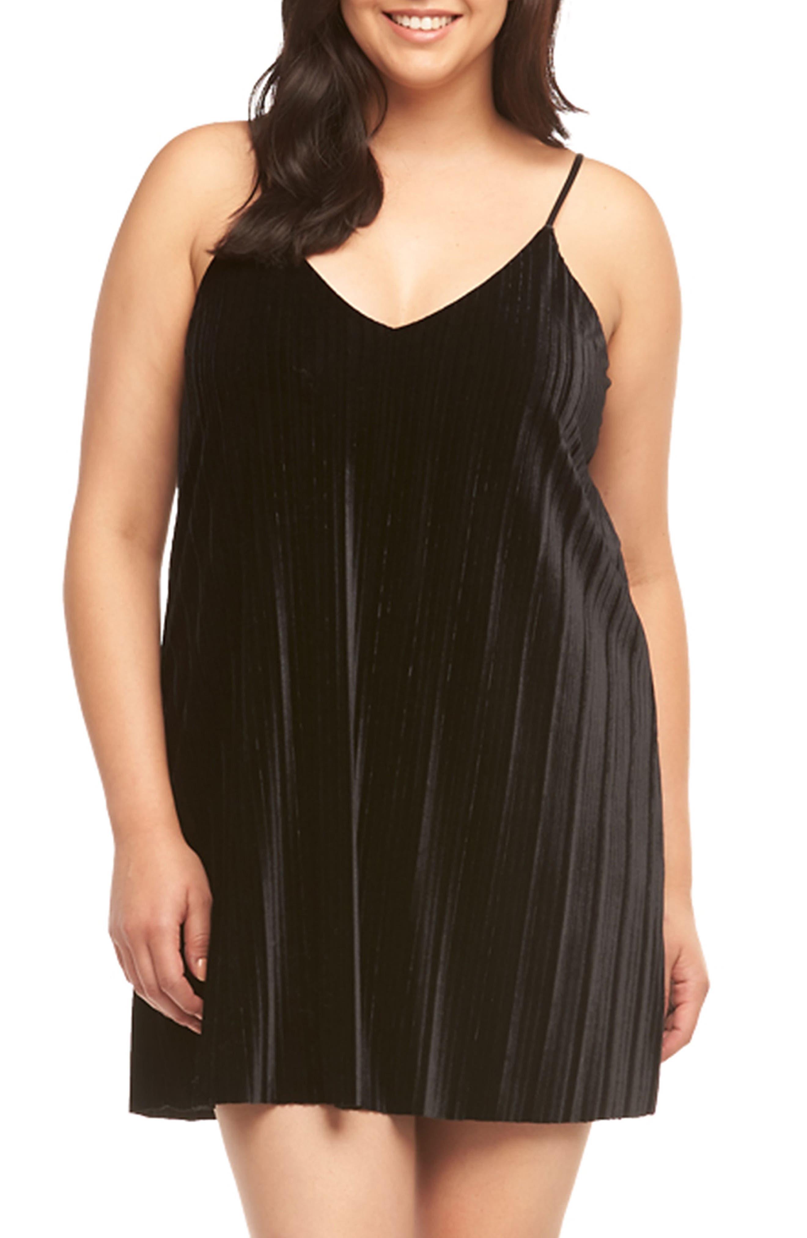 Plus Size Tart Oda Pleat Velvet Slipdress, Black