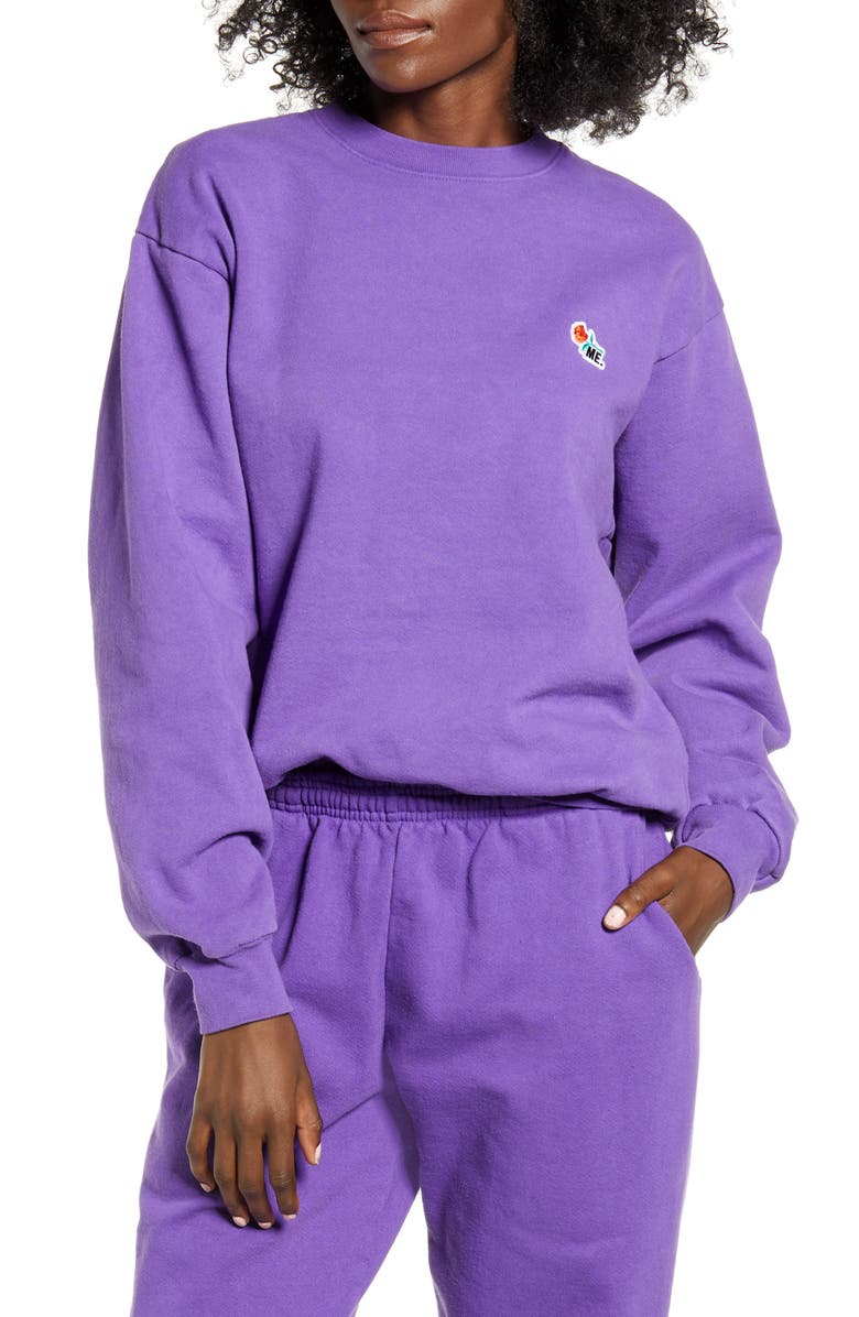 MELODY EHSANI ME. Rose Crewneck Sweatshirt, Main, color, GRAPE