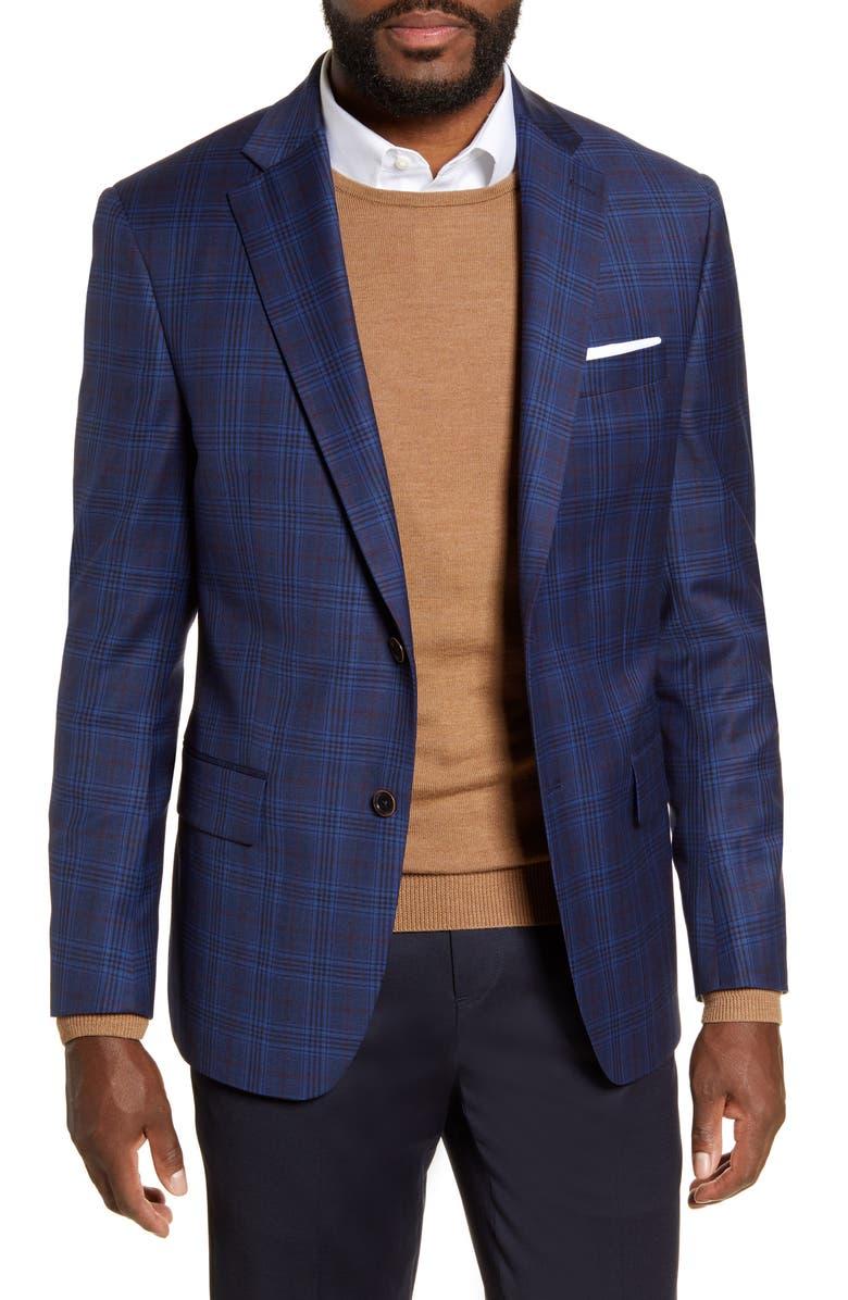 HART SCHAFFNER MARX Classic Fit Plaid Stretch Wool Sport Coat, Main, color, DARK BLUE