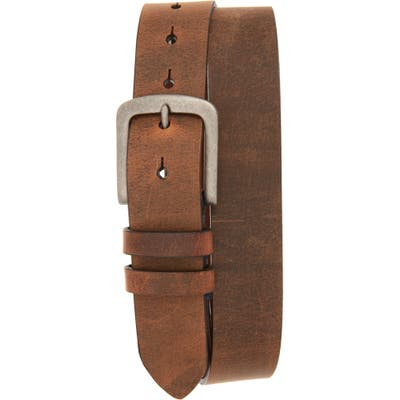 Torino Distressed Waxed Harness Leather Belt, Brown