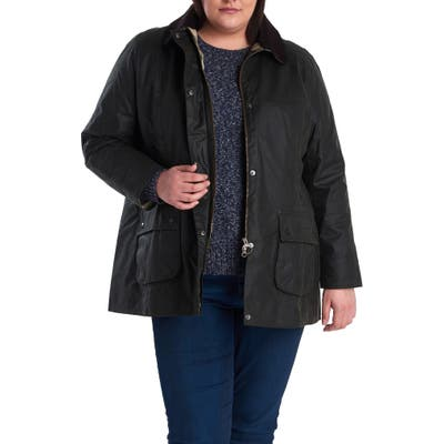 Plus Size Barbour Beadnell Waxed Cotton Jacket, Green