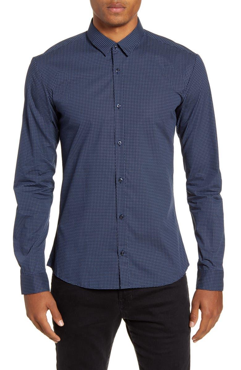 HUGO Ero3-W Slim Fit Print Sport Shirt, Main, color, DARK BLUE