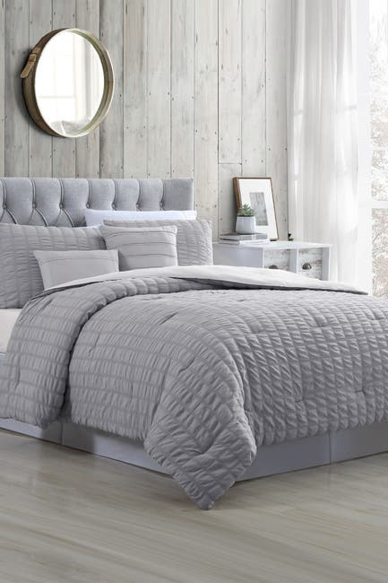Image of Modern Threads 5-Piece Seersucker Comforter Set - Kane Grey - Queen
