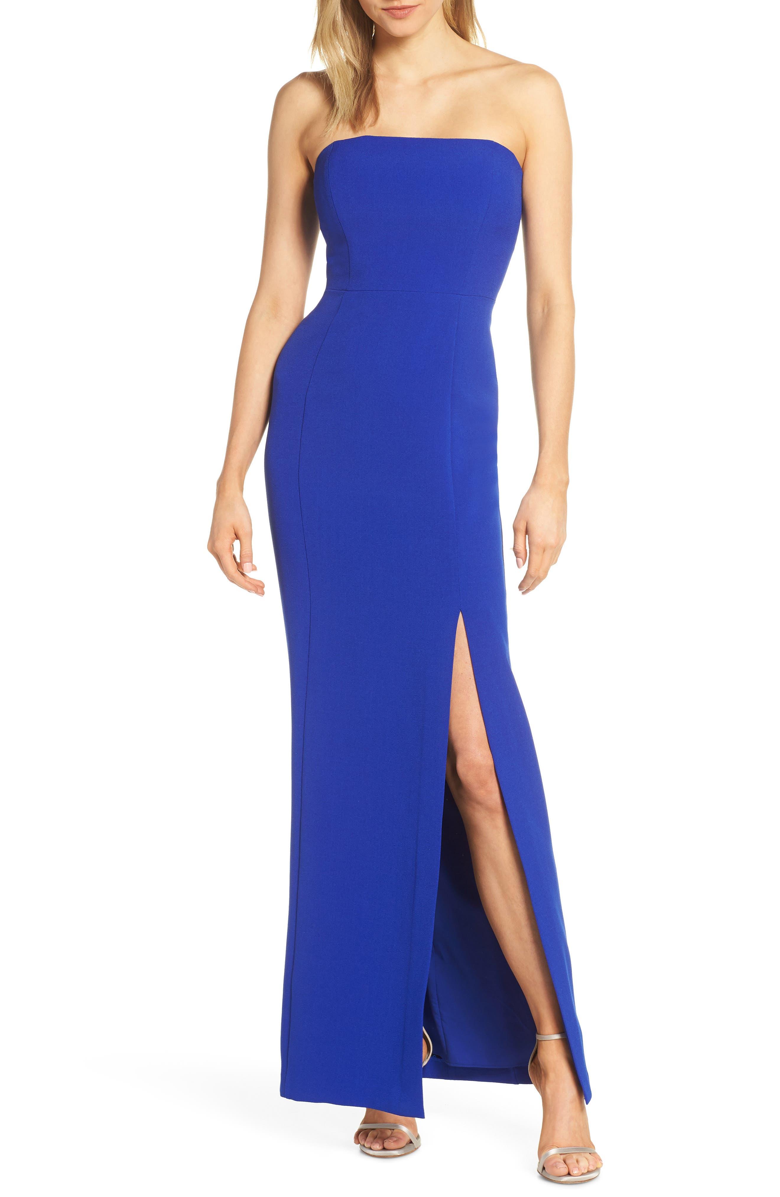 Eliza J Strapless Crepe Evening Dress, Blue
