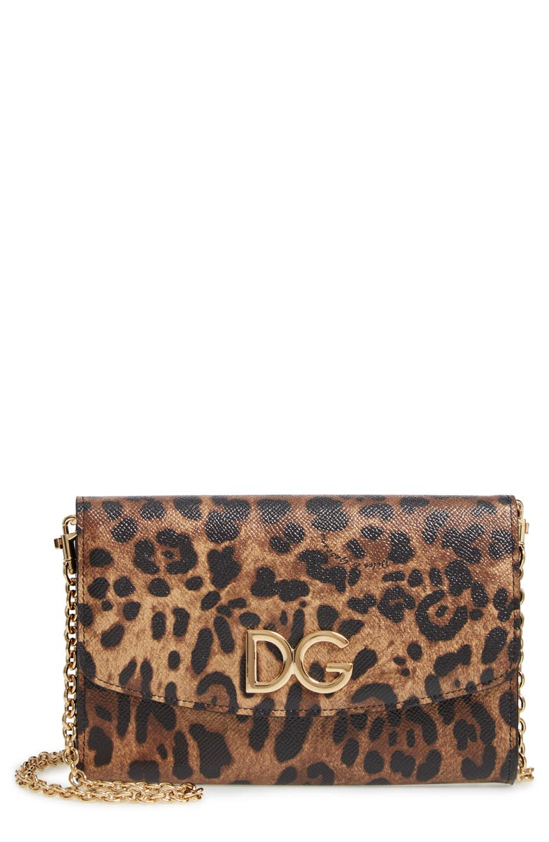 DOLCE&GABBANA Leather Wallet on a Chain, Main, color, 205