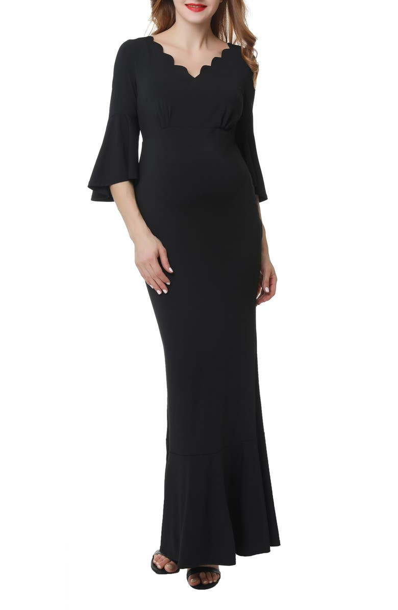 KIMI AND KAI Maisie Scalloped Maternity Mermaid Dress, Main, color, BLACK