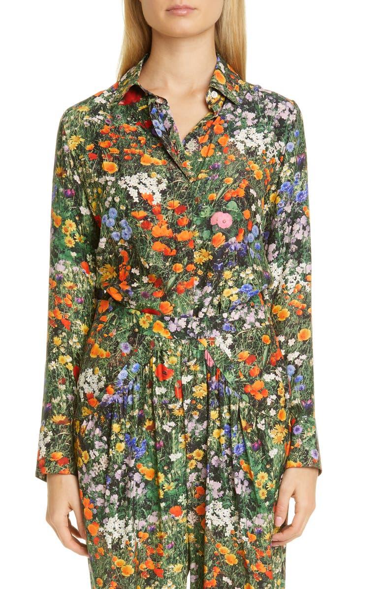 STELLA MCCARTNEY Willow Floral Print Silk Shirt, Main, color, 400