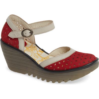 Fly London Yven Wedge - Red