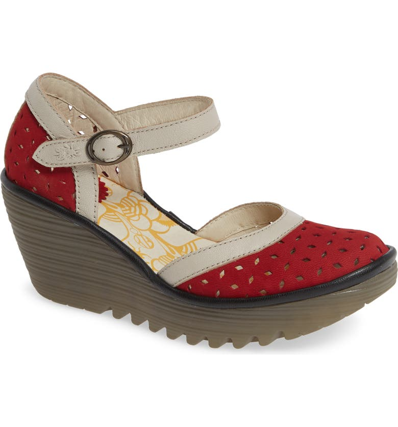 FLY LONDON Yven Wedge, Main, color, LIPSTICK/ CONCRETE LEATHER