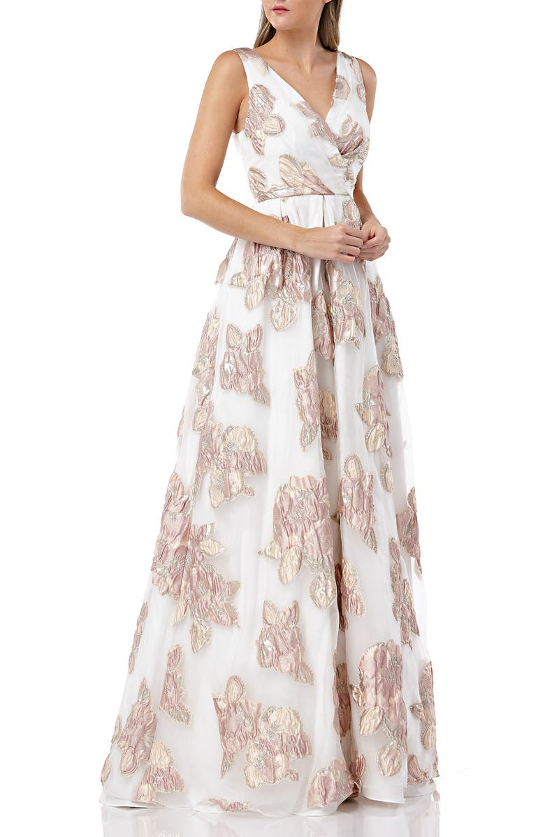 CARMEN MARC VALVO INFUSION Organza Pleated Gown, Main, color, 900