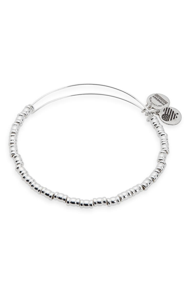ALEX AND ANI Rocker Beaded Bangle, Main, color, SILVER