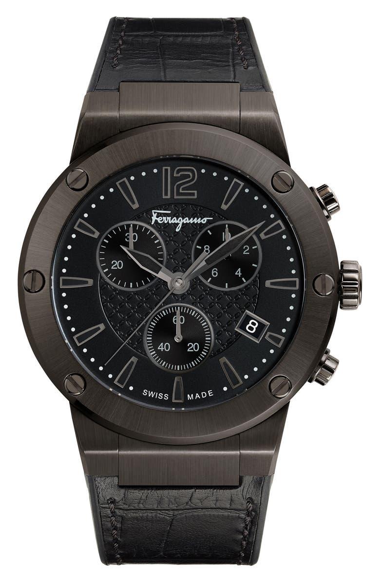 SALVATORE FERRAGAMO F80 Chronograph Leather Strap Watch, 44mm, Main, color, 040
