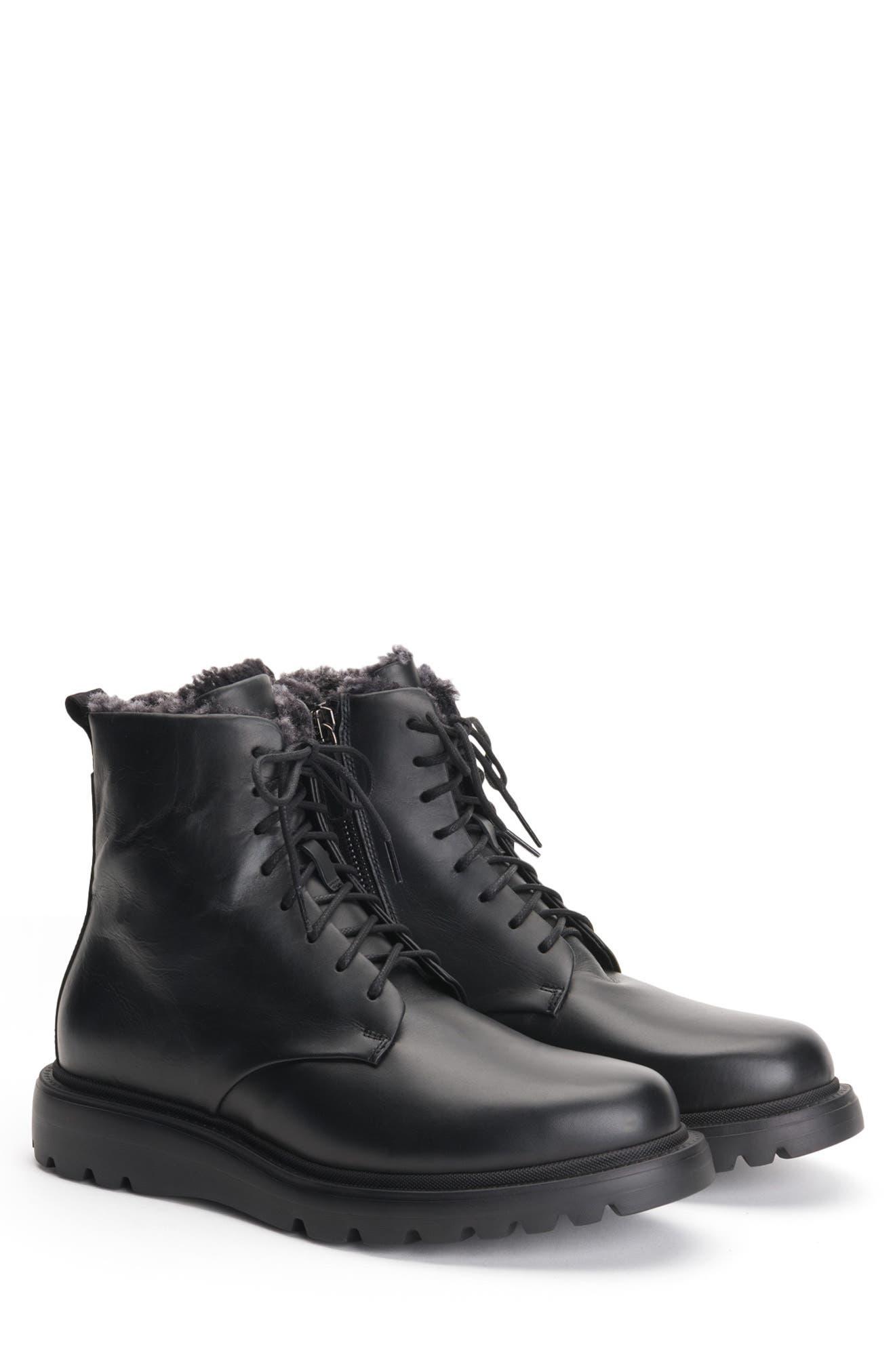 Aquatalia Charles Genuine Shearling Water Resistant Hiking Waterproof Boot- Black