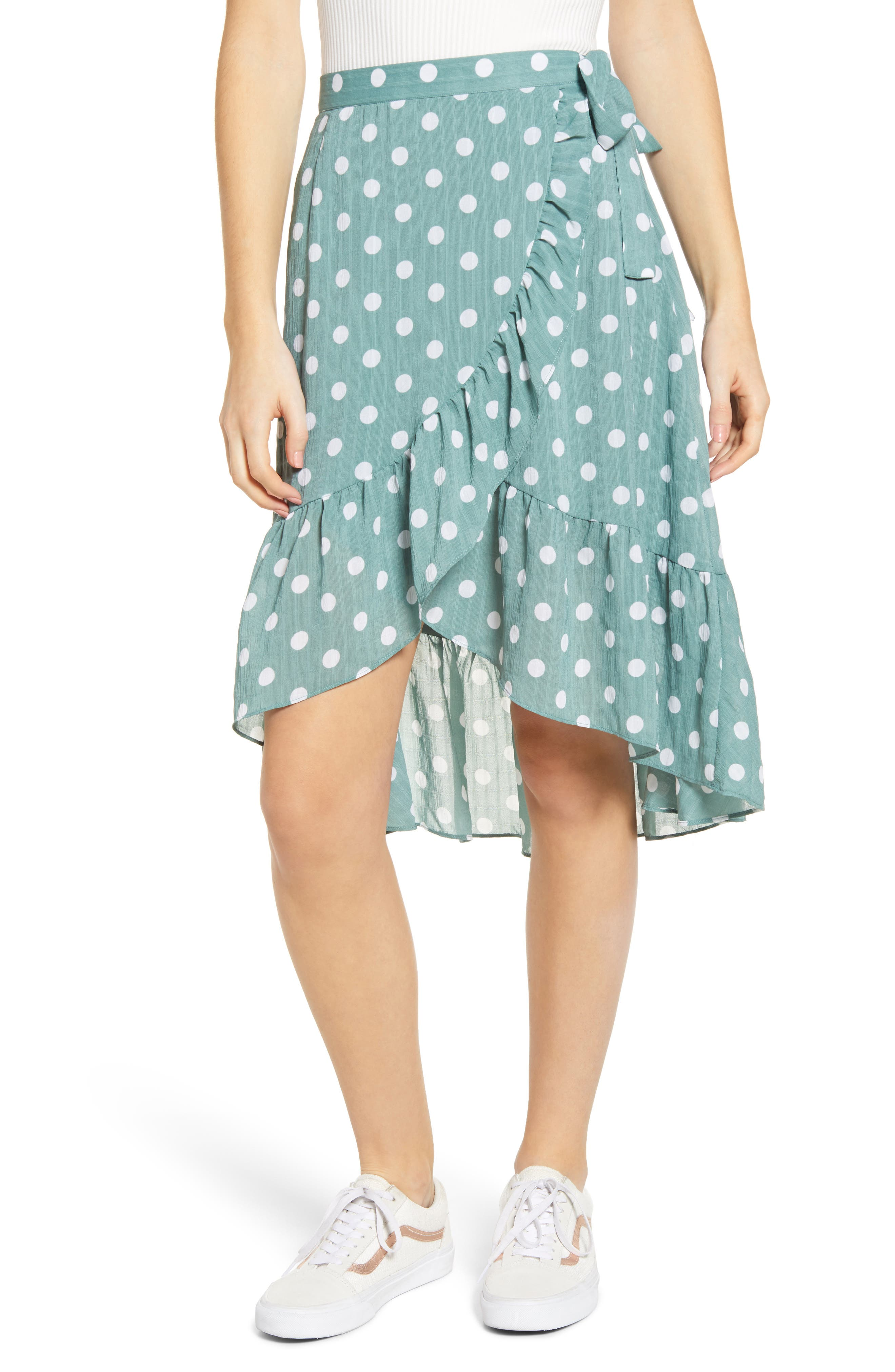 Minkpink Misty Polka Dot Ruffle Wrap Skirt, Green