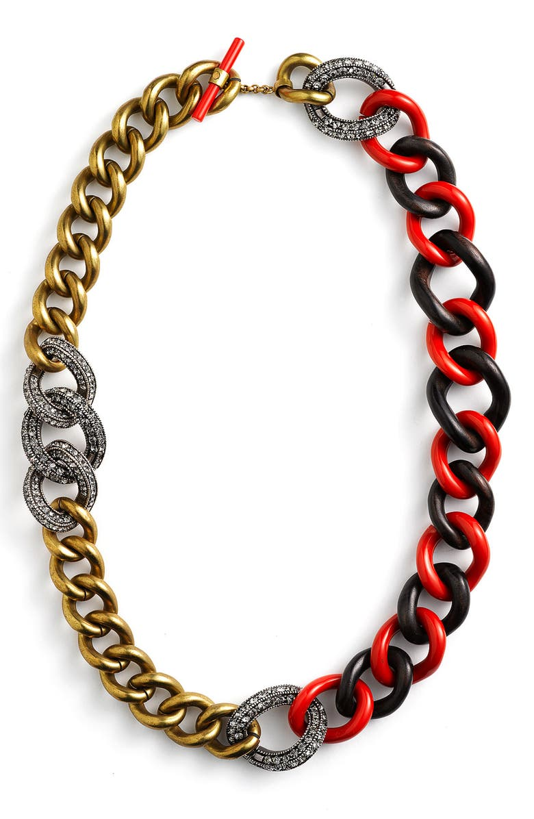 LANVIN Braided Chain Necklace, Main, color, 950