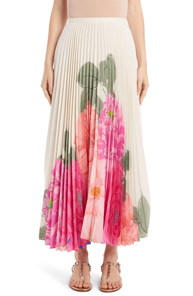VALENTINO Camellia Pleated Silk Crêpe de Chine Maxi Skirt, Main, color, AVORIO/ FUXIA