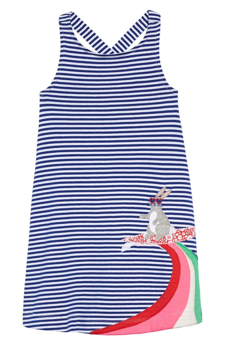 MINI BODEN Cross Back Appliqué Dress, Main, color, WHITE/ BLUE WAVE SURF BUNNY