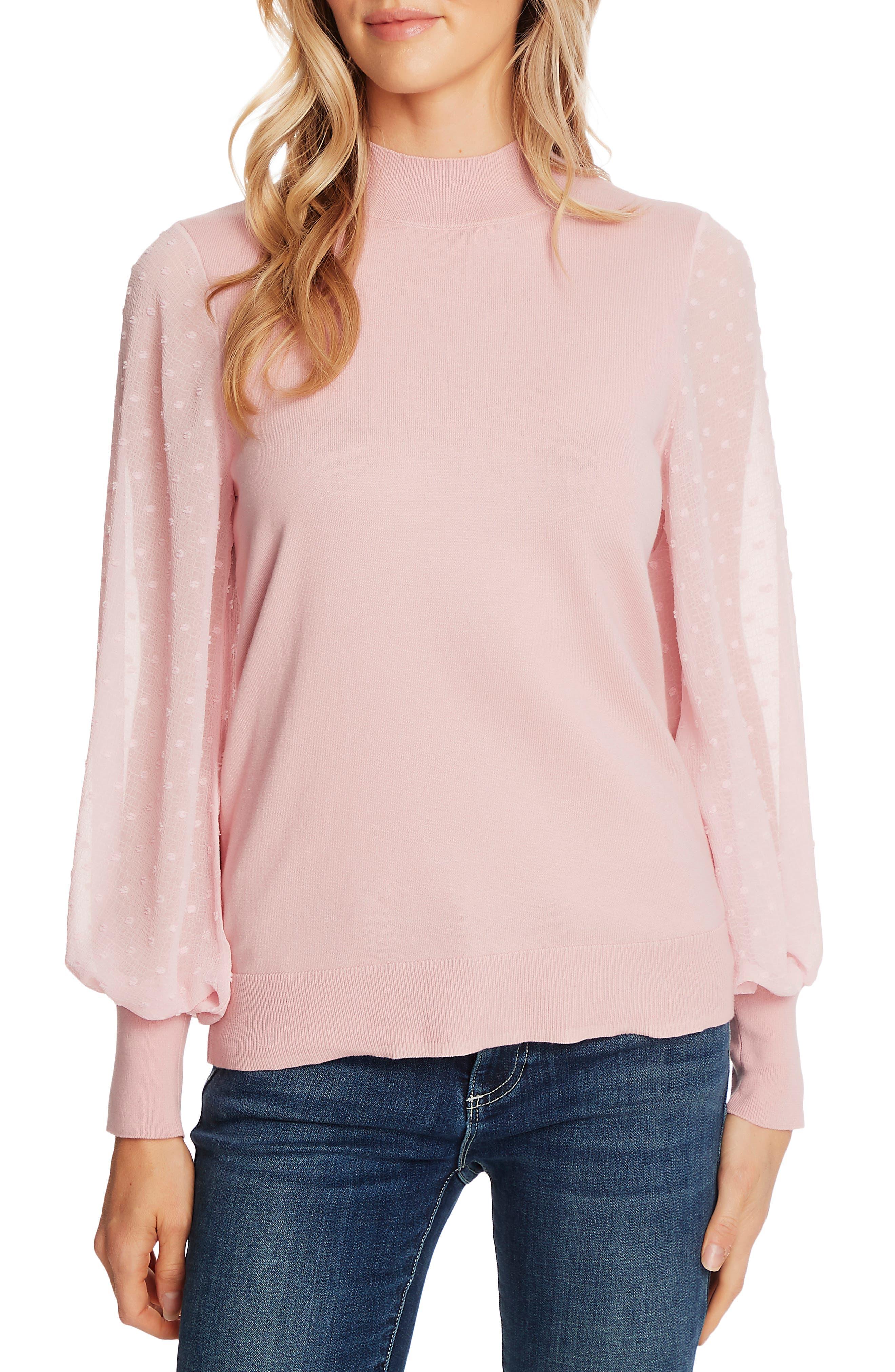 CeCe Clip Dot Sleeve Sweater