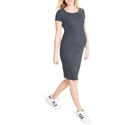 Ingrid & Isabel Short Sleeve Maternity Dress, Grey