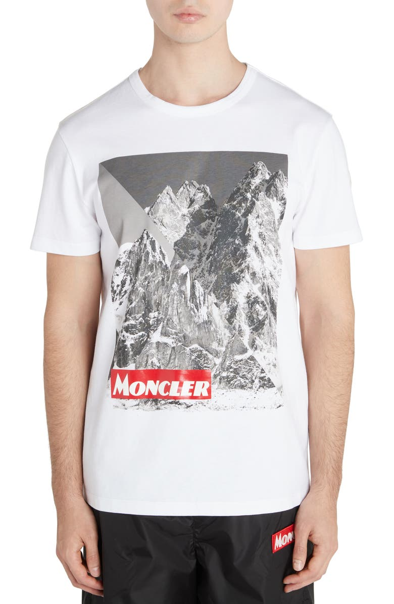MONCLER Mountain Print T-Shirt, Main, color, WHITE