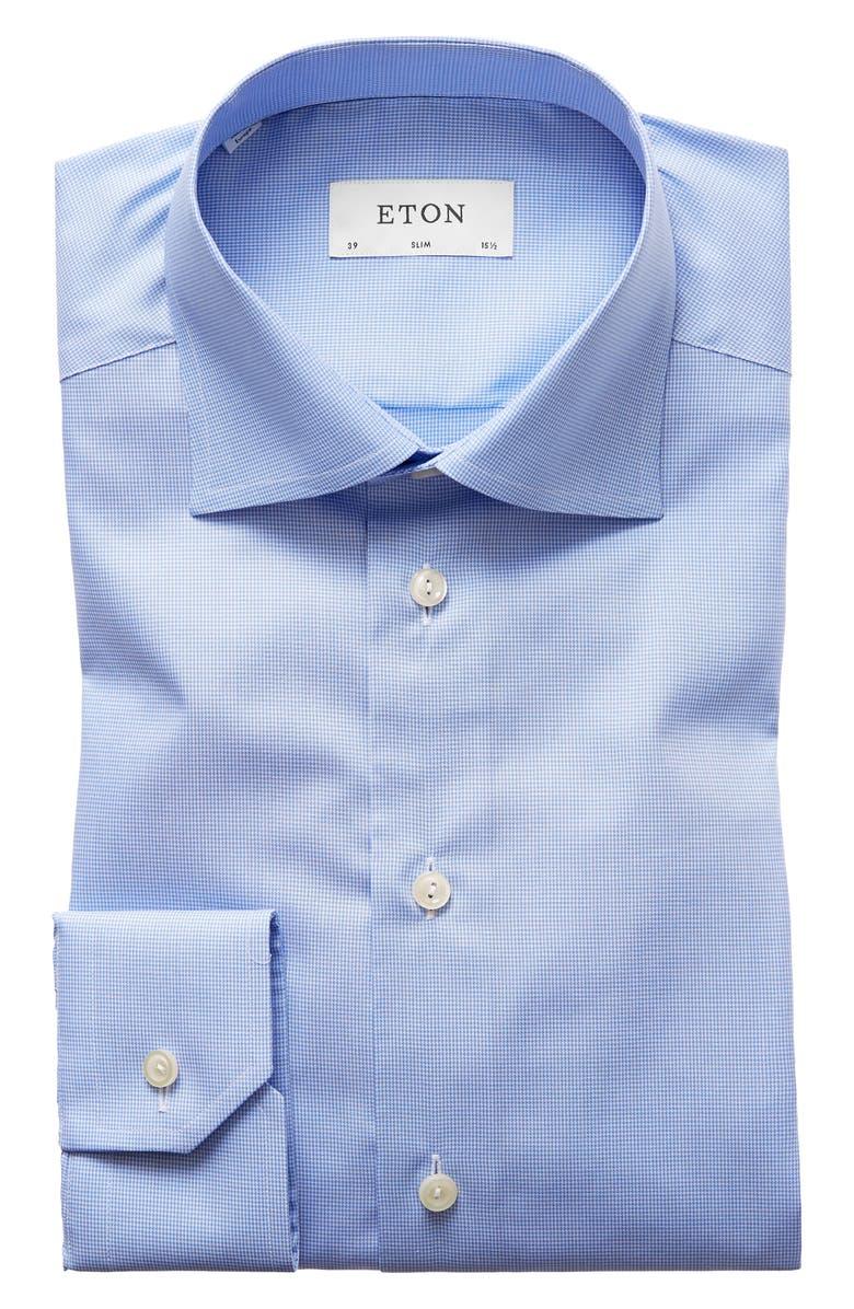 ETON Slim Fit Houndstooth Dress Shirt, Main, color, BLUE