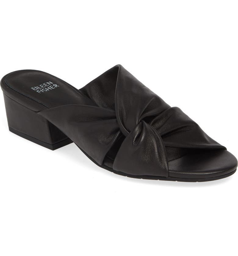 EILEEN FISHER Petula Twisted Slide Sandal, Main, color, BLACK WASHED LEATHER