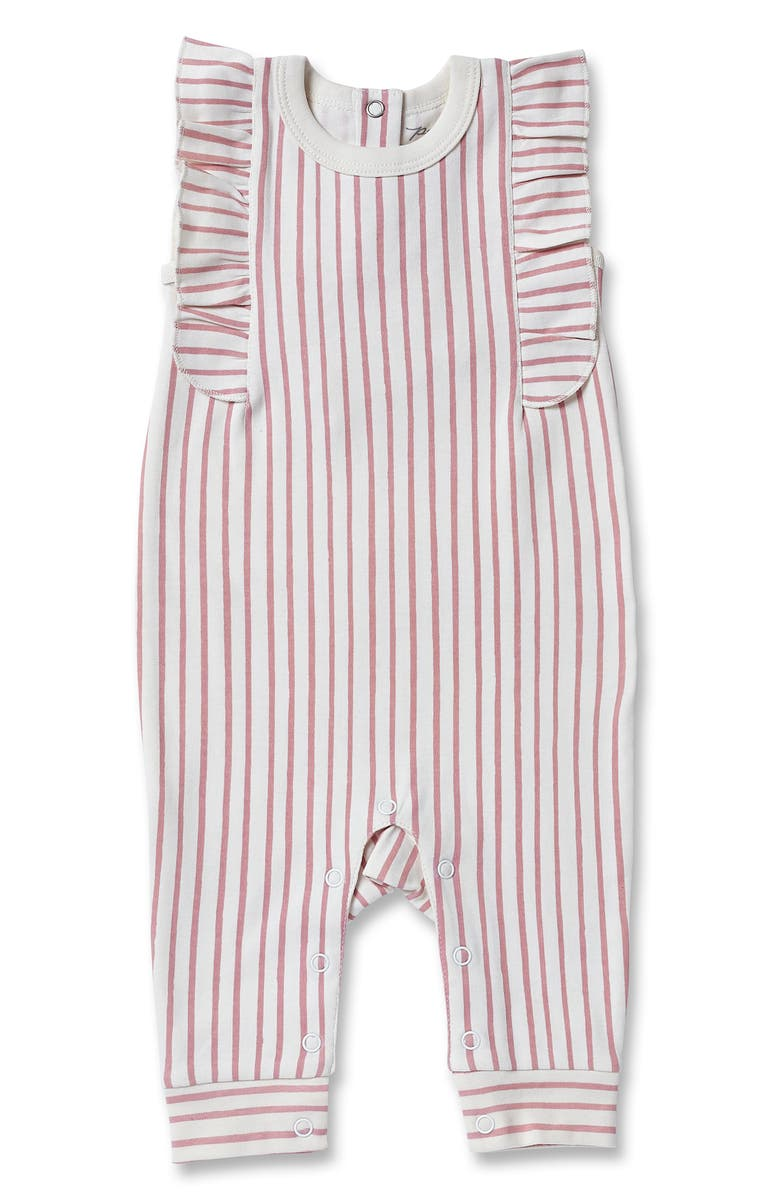 PEHR Stripes Away Organic Cotton Flutter Romper, Main, color, PINK