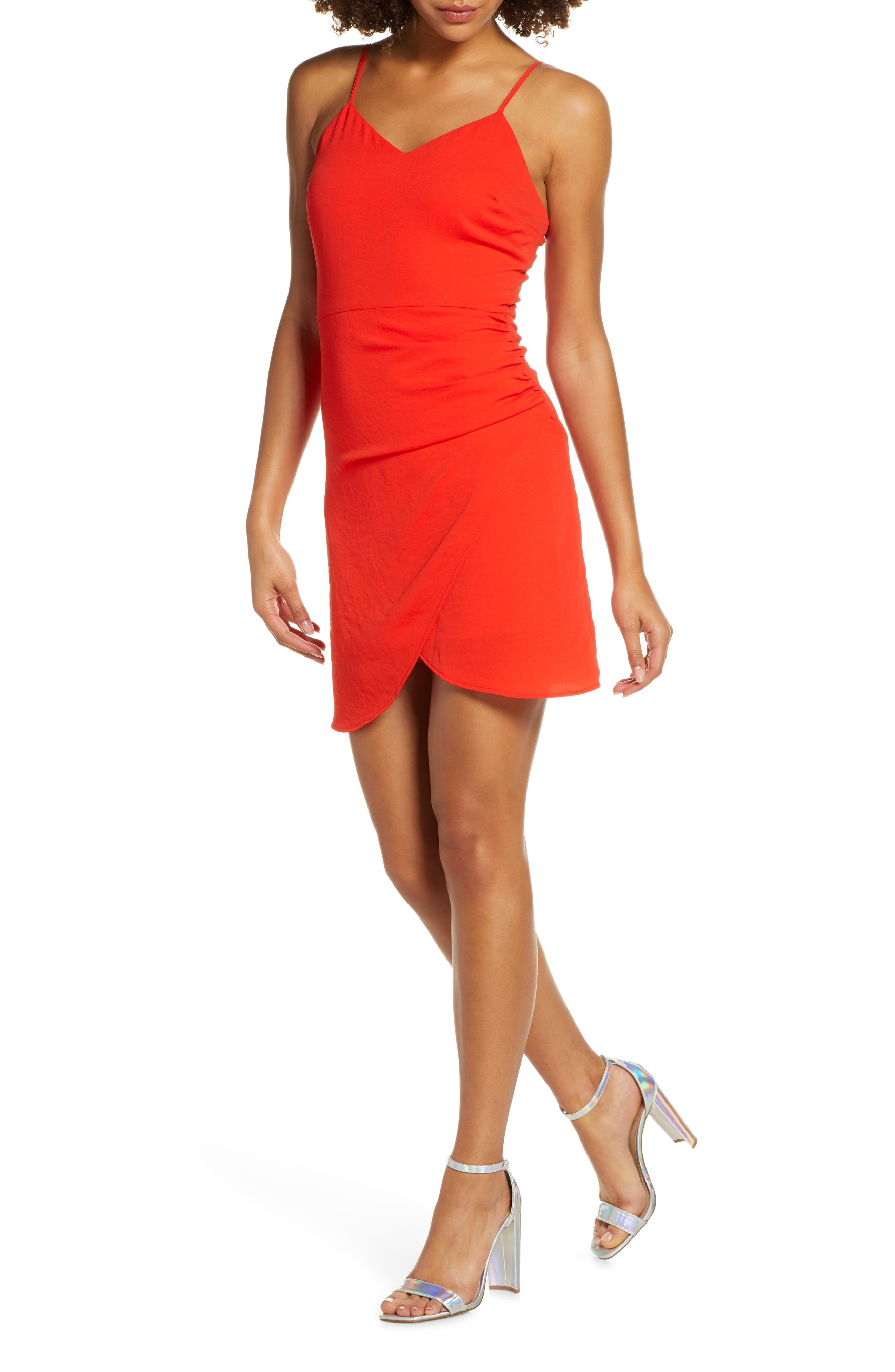 Nsr Carrie Ruched Tulip Cocktail Dress, Red