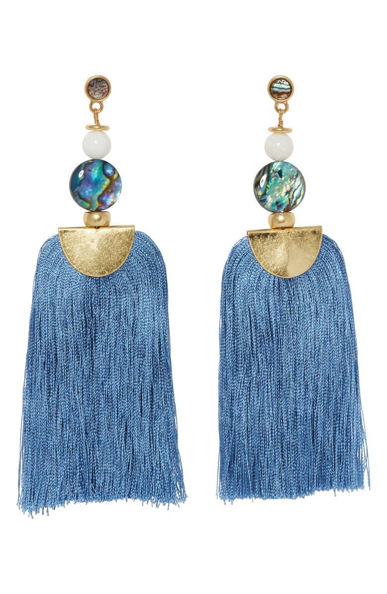 SOLE SOCIETY Tassel Drop Earrings, Main, color, 710